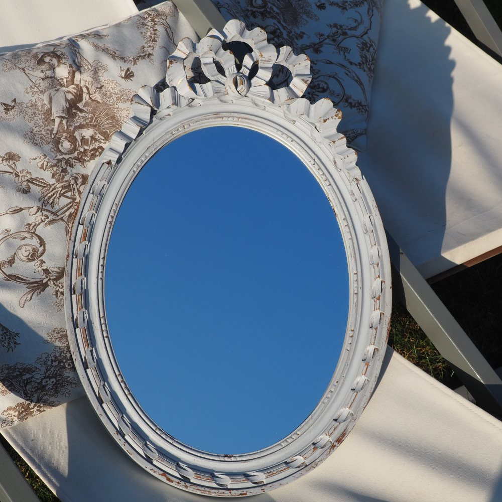 Miroir patiné noeud Louis XVI MM028  (55cmx37cm)